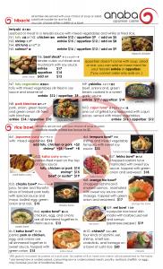 Hibachi and Rice Bowl menu