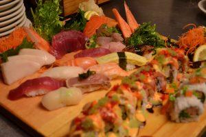 sushi, nigiri, and sashimi platter