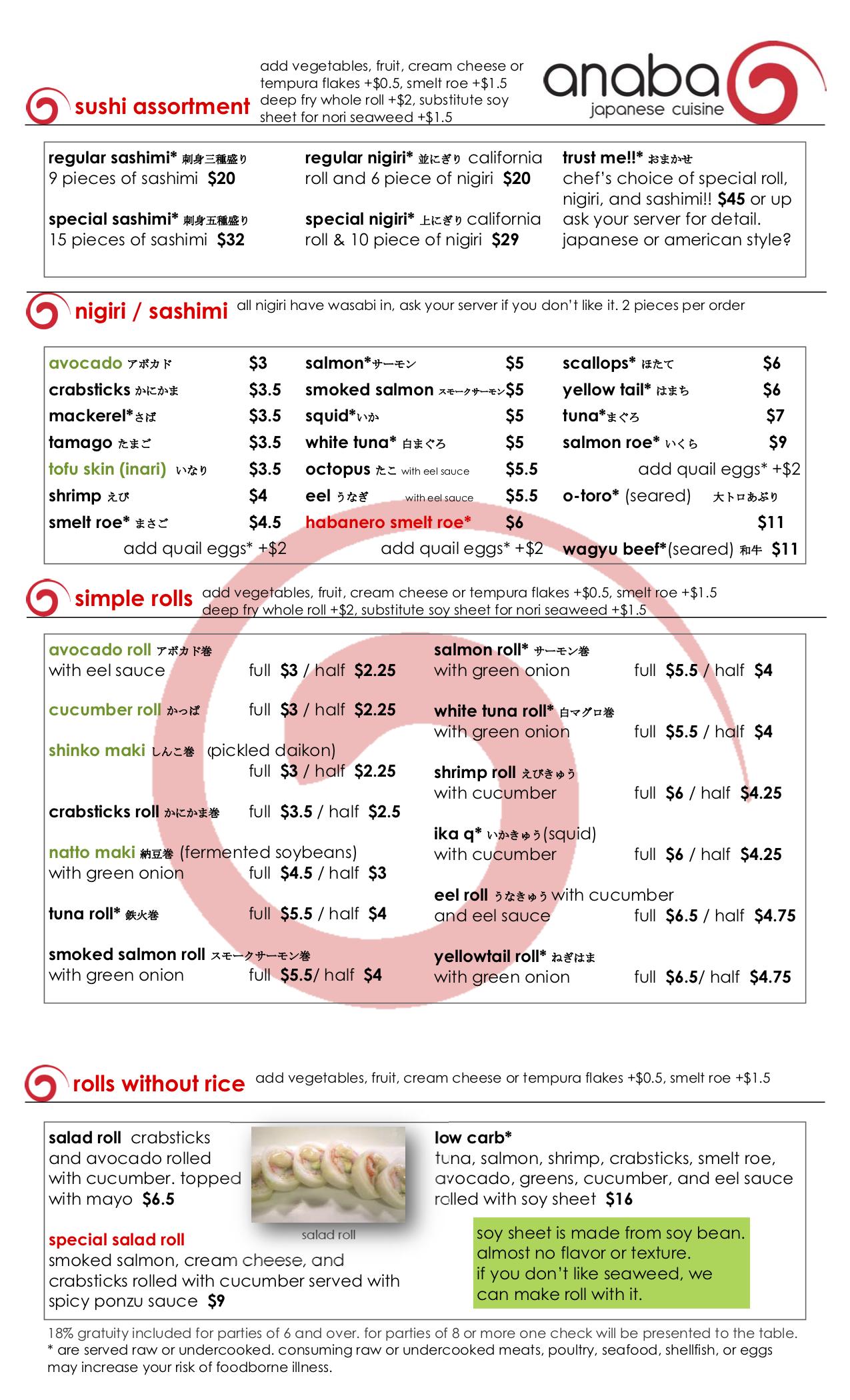Anaba Japanese sushi menu